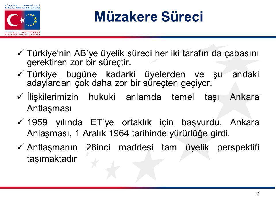 Müzakere Süreci Türkiye'nin AB'ye üyelik süreci her iki tarafın da çabasını gerektiren zor bir süreçtir. Türkiye bugüne kadarki üyelerden ve şu andaki