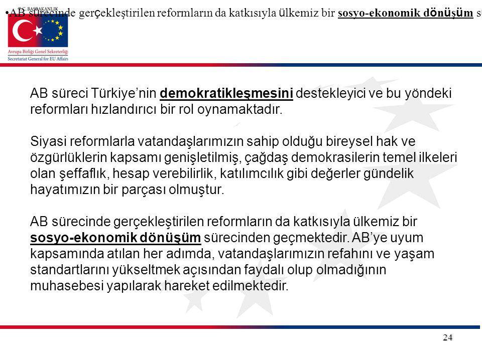 24 AB süreci Türkiye'nin demokratikleşmesini destekleyici ve bu yöndeki reformları hızlandırıcı bir rol oynamaktadır. Siyasi reformlarla vatandaşlarım