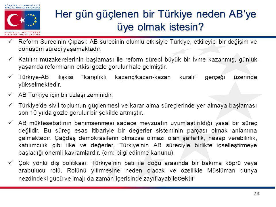 28 Reform Sürecinin Çıpası: AB sürecinin olumlu etkisiyle Türkiye, etkileyici bir değişim ve dönüşüm süreci yaşamaktadır. Katılım müzakerelerinin başl