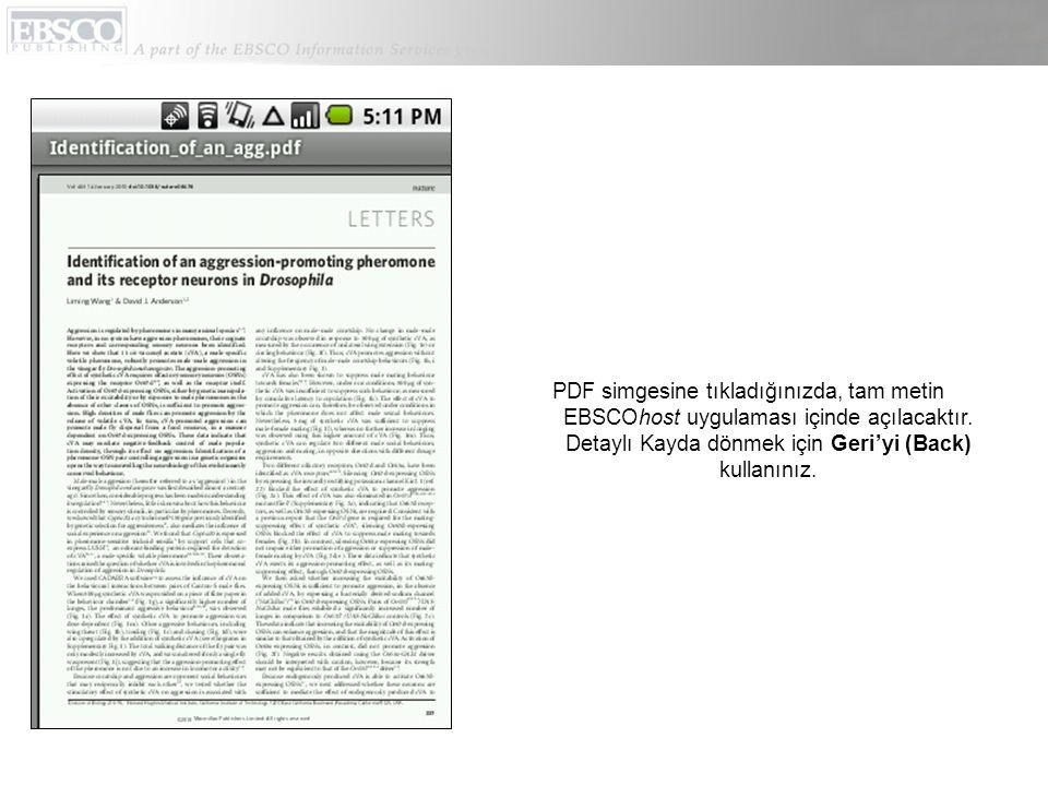 PDF simgesine tıkladığınızda, tam metin EBSCOhost uygulaması içinde açılacaktır.