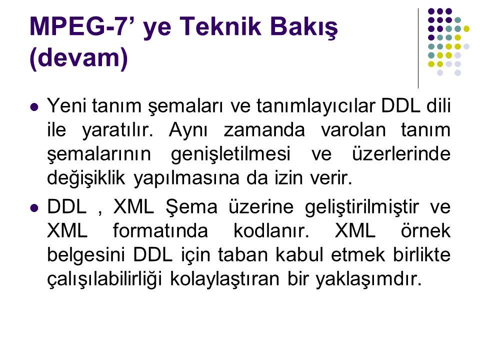 MPEG-7' ye Teknik Bakış (devam) Yeni tanım şemaları ve tanımlayıcılar DDL dili ile yaratılır. Aynı zamanda varolan tanım şemalarının genişletilmesi ve