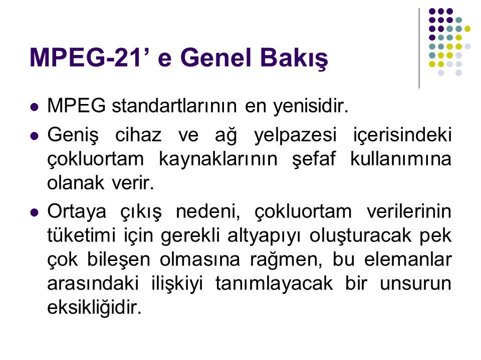 MPEG-21' e Genel Bakış MPEG standartlarının en yenisidir. Geniş cihaz ve ağ yelpazesi içerisindeki çokluortam kaynaklarının şefaf kullanımına olanak v