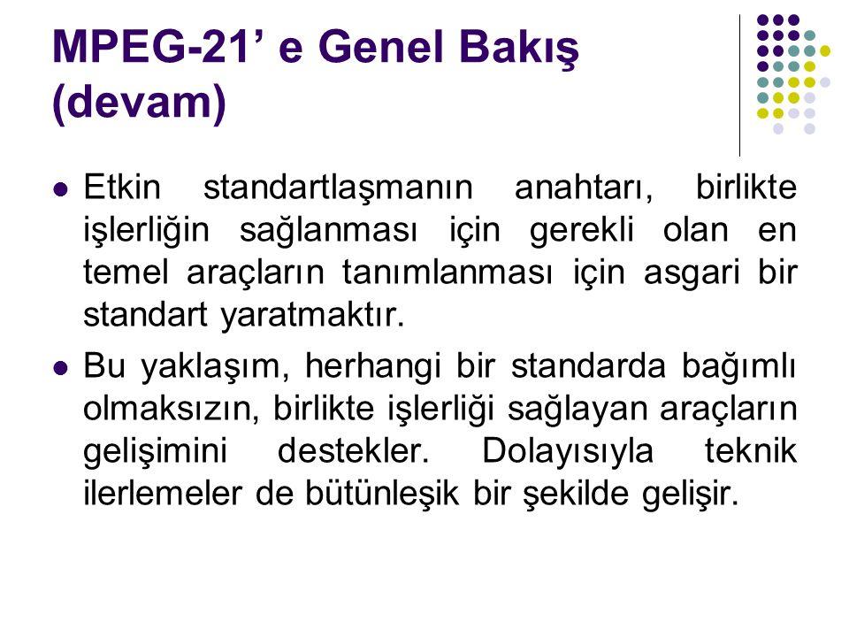 MPEG-21' e Genel Bakış (devam) Etkin standartlaşmanın anahtarı, birlikte işlerliğin sağlanması için gerekli olan en temel araçların tanımlanması için