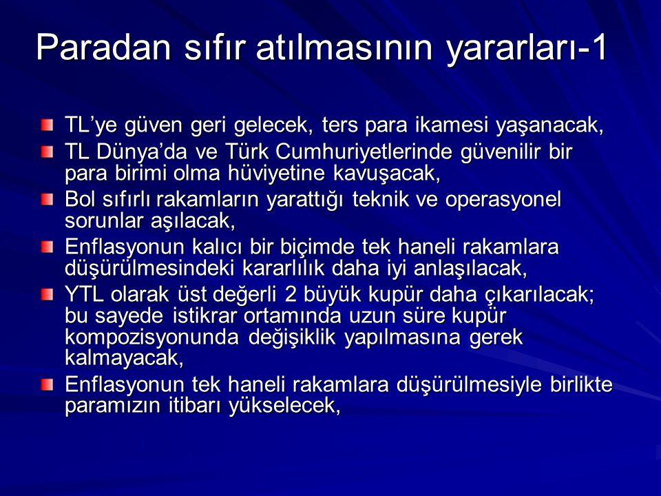 Paradan sıfır atılmasının yararları-1 TL'ye güven geri gelecek, ters para ikamesi yaşanacak, TL Dünya'da ve Türk Cumhuriyetlerinde güvenilir bir para birimi olma hüviyetine kavuşacak, Bol sıfırlı rakamların yarattığı teknik ve operasyonel sorunlar aşılacak, Enflasyonun kalıcı bir biçimde tek haneli rakamlara düşürülmesindeki kararlılık daha iyi anlaşılacak, YTL olarak üst değerli 2 büyük kupür daha çıkarılacak; bu sayede istikrar ortamında uzun süre kupür kompozisyonunda değişiklik yapılmasına gerek kalmayacak, Enflasyonun tek haneli rakamlara düşürülmesiyle birlikte paramızın itibarı yükselecek,