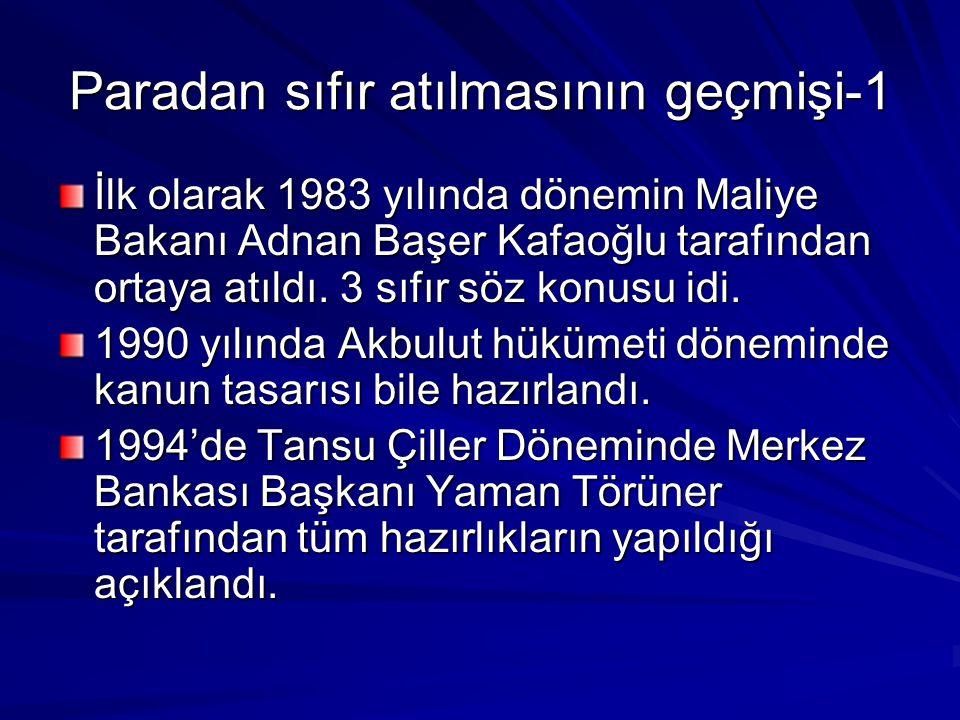 Paradan sıfır atılmasının geçmişi-1 İlk olarak 1983 yılında dönemin Maliye Bakanı Adnan Başer Kafaoğlu tarafından ortaya atıldı.