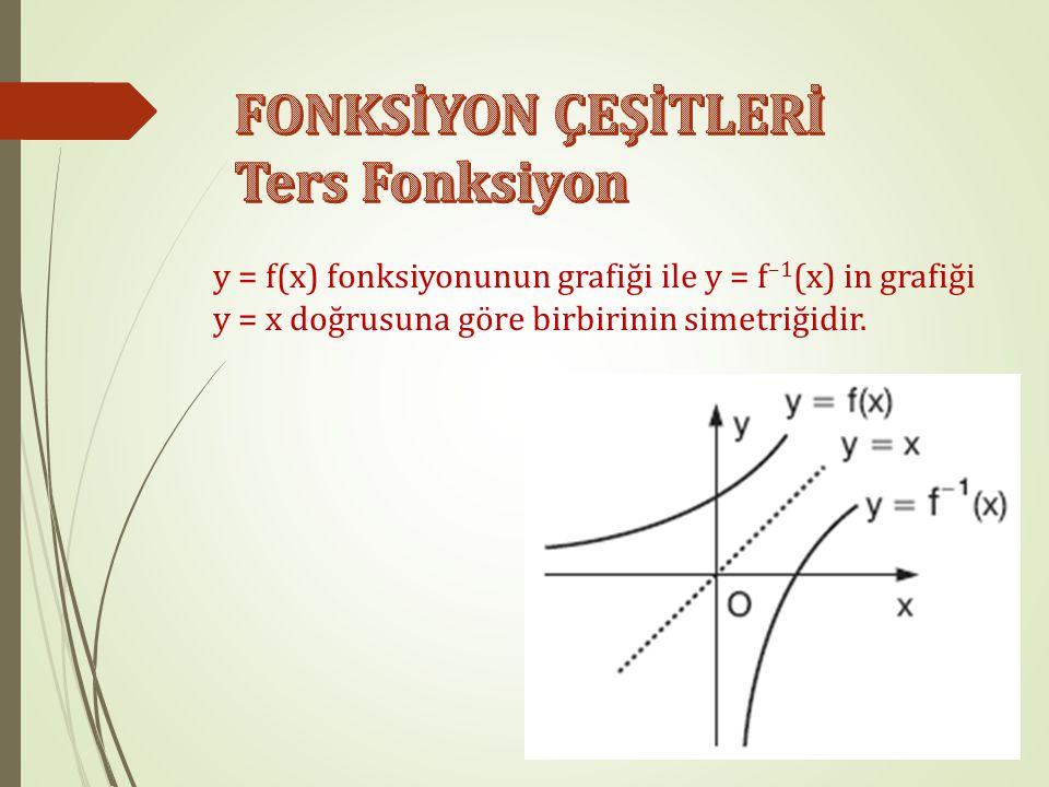 (x, y)  f ise, (y, x)  f–1 olduğu için, y = f(x) ise, x = f –1 (y) dir. Ayrıca, (f –1 ) –1 = f dir. Ancak, (f –1 (x)) –1 ≠ f(x) tir. f fonksiyonu bi
