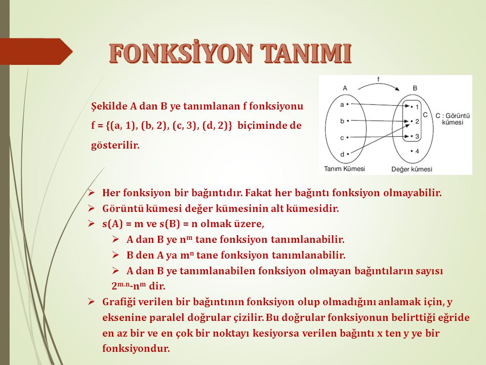 Şekilde A dan B ye tanımlanan f fonksiyonu f = {(a, 1), (b, 2), (c, 3), (d, 2)} biçiminde de gösterilir.