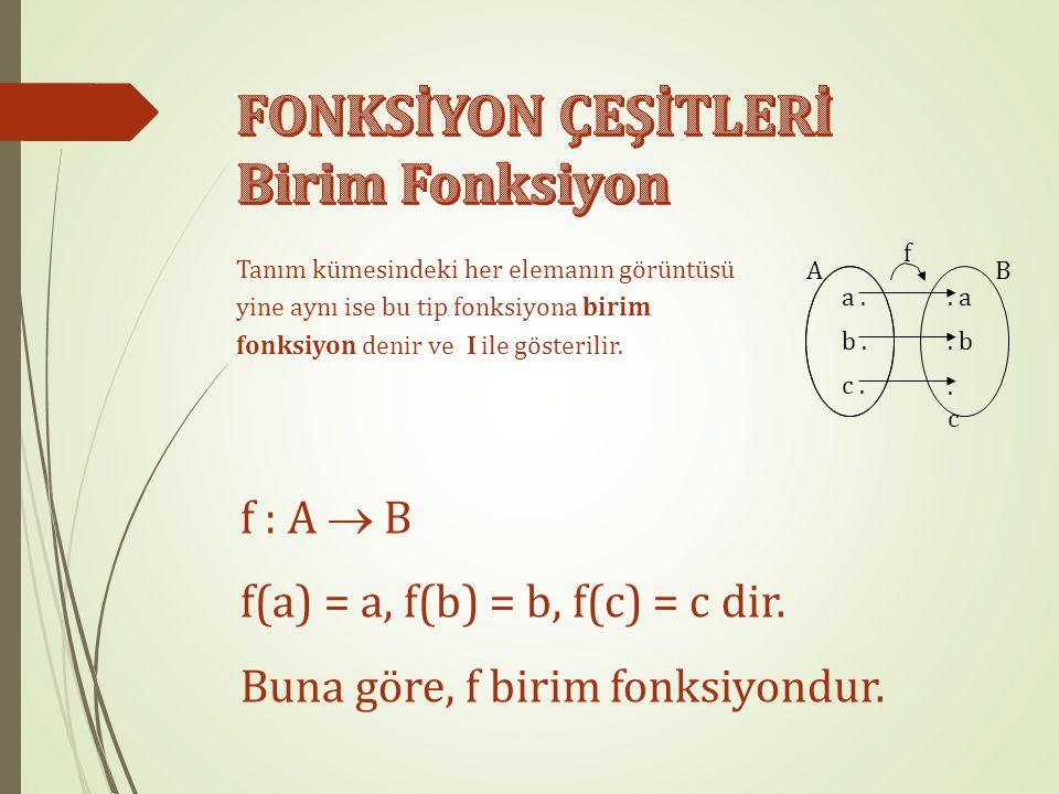 Tanım kümesindeki her elemanın görüntüsü yine aynı ise bu tip fonksiyona birim fonksiyon denir ve  ile gösterilir.