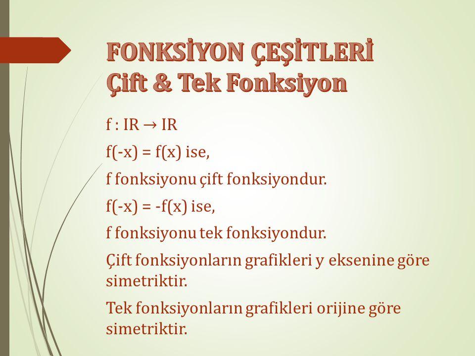 f : IR → IR f(-x) = f(x) ise, f fonksiyonu çift fonksiyondur.