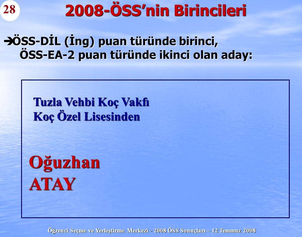 Öğrenci Seçme ve Yerleştirme Merkezi - 2008 ÖSS Sonuçları – 12 Temmuz 2008  ÖSS-DİL (İng) puan türünde birinci, ÖSS-EA-2 puan türünde ikinci olan ada