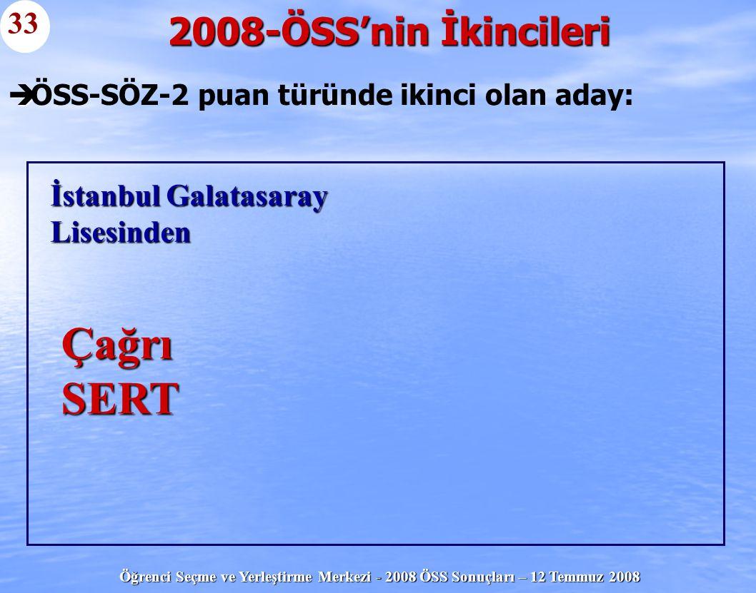 Öğrenci Seçme ve Yerleştirme Merkezi - 2008 ÖSS Sonuçları – 12 Temmuz 2008   ÖSS-SÖZ-2 puan türünde ikinci olan aday: 2008-ÖSS'nin İkincileri 33 İst