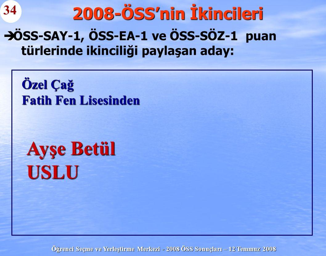 Öğrenci Seçme ve Yerleştirme Merkezi - 2008 ÖSS Sonuçları – 12 Temmuz 2008   ÖSS-SAY-1, ÖSS-EA-1 ve ÖSS-SÖZ-1 puan türlerinde ikinciliği paylaşan ad