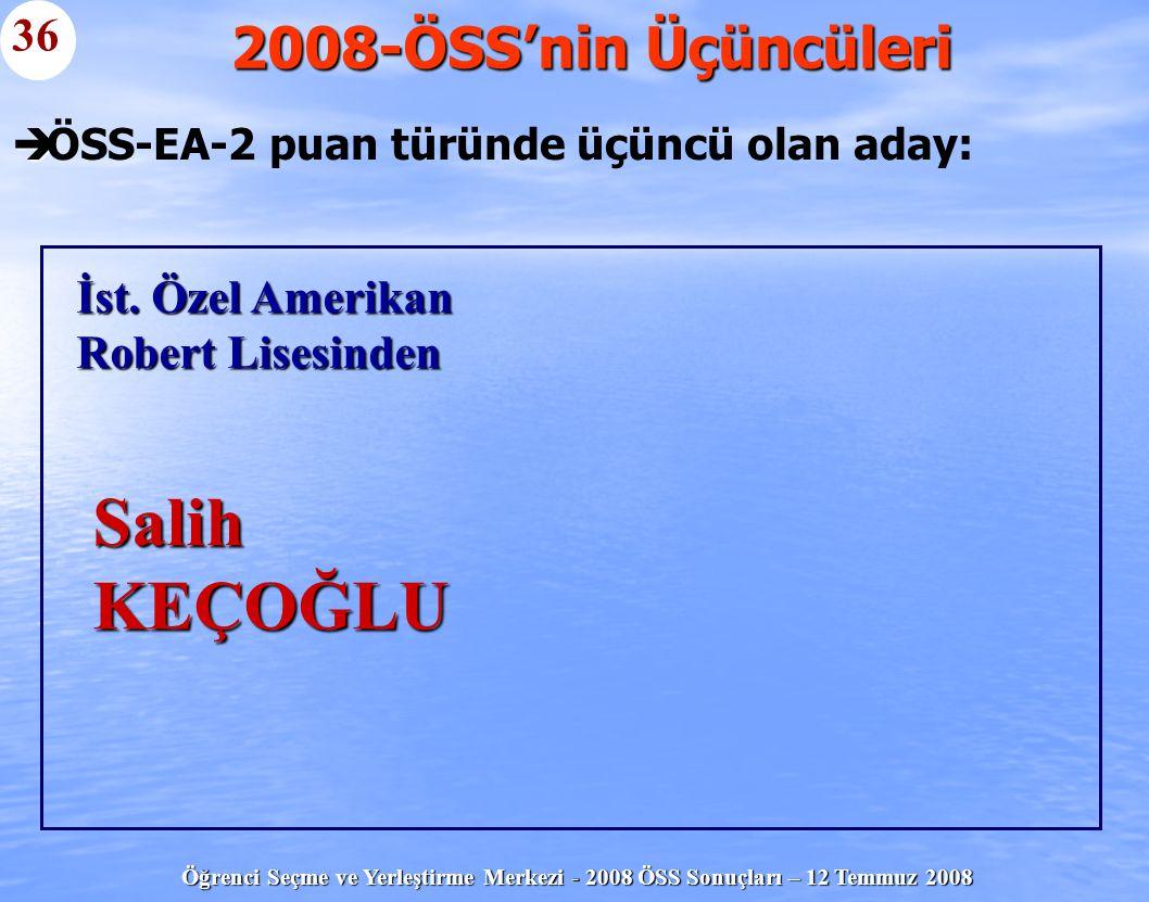 Öğrenci Seçme ve Yerleştirme Merkezi - 2008 ÖSS Sonuçları – 12 Temmuz 2008   ÖSS-EA-2 puan türünde üçüncü olan aday: 2008-ÖSS'nin Üçüncüleri 36 İst.