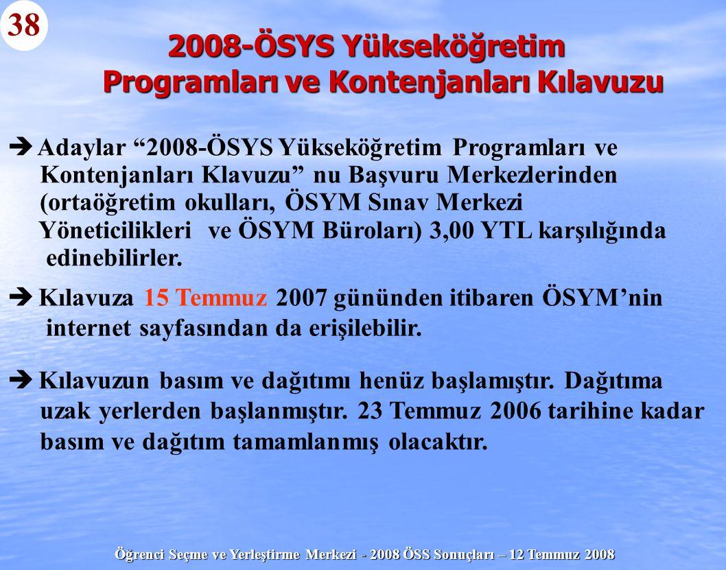 """Öğrenci Seçme ve Yerleştirme Merkezi - 2008 ÖSS Sonuçları – 12 Temmuz 2008 38   Adaylar """"2008-ÖSYS Yükseköğretim Programları ve Kontenjanları Klavuz"""