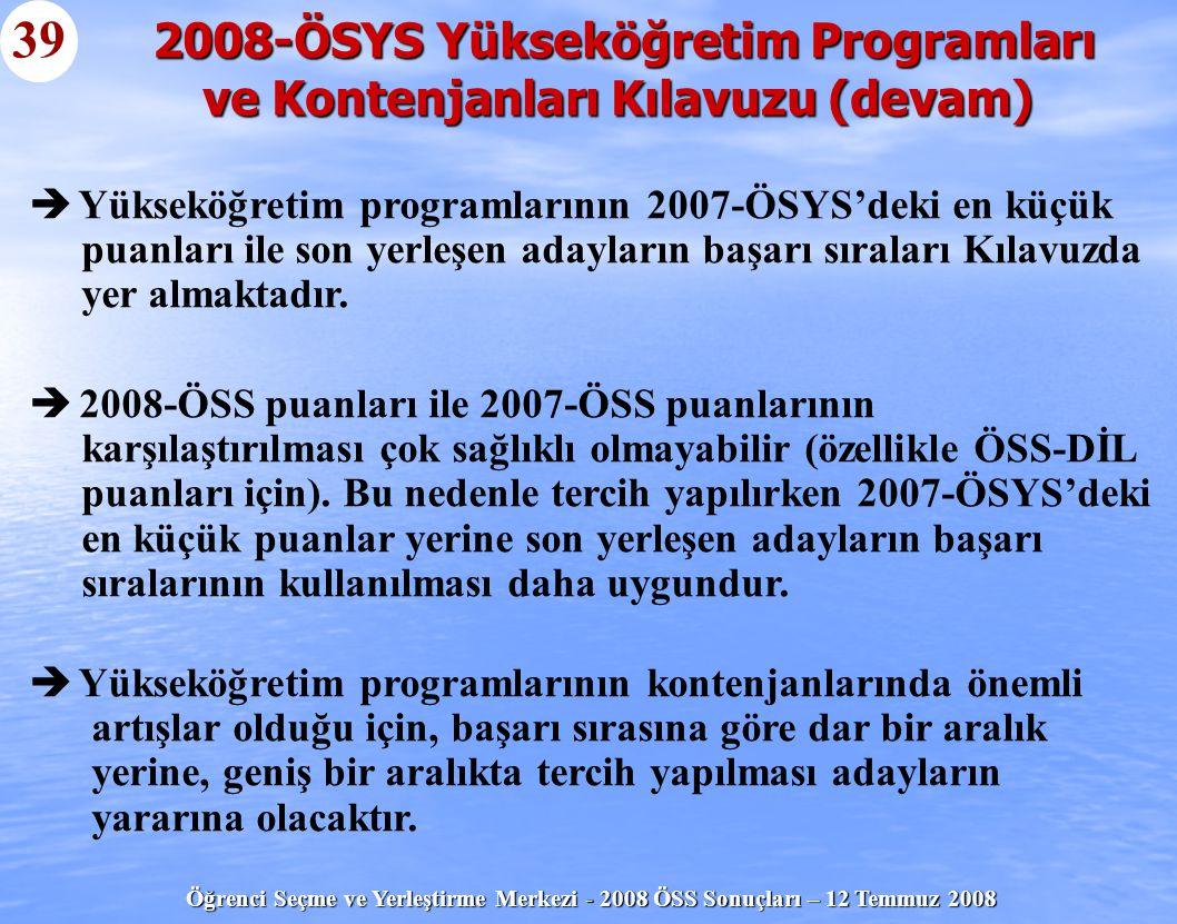 Öğrenci Seçme ve Yerleştirme Merkezi - 2008 ÖSS Sonuçları – 12 Temmuz 2008 39   Yükseköğretim programlarının 2007-ÖSYS'deki en küçük puanları ile so