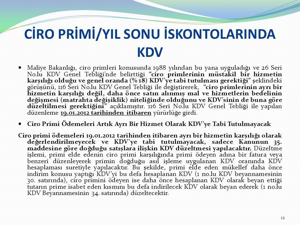 CİRO PRİMİ/YIL SONU İSKONTOLARINDA KDV Maliye Bakanlığı, ciro primleri konusunda 1988 yılından bu yana uyguladığı ve 26 Seri No.lu KDV Genel Tebliği'n