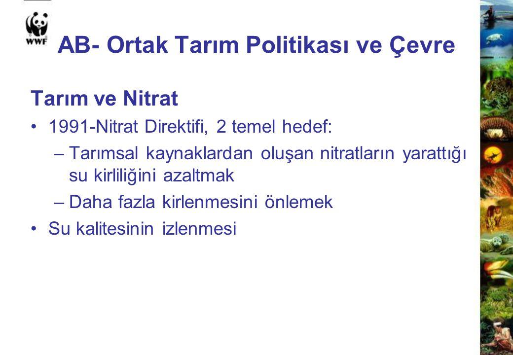 AB- Ortak Tarım Politikası ve Çevre Tarım ve Nitrat 1991-Nitrat Direktifi, 2 temel hedef: –Tarımsal kaynaklardan oluşan nitratların yarattığı su kirli