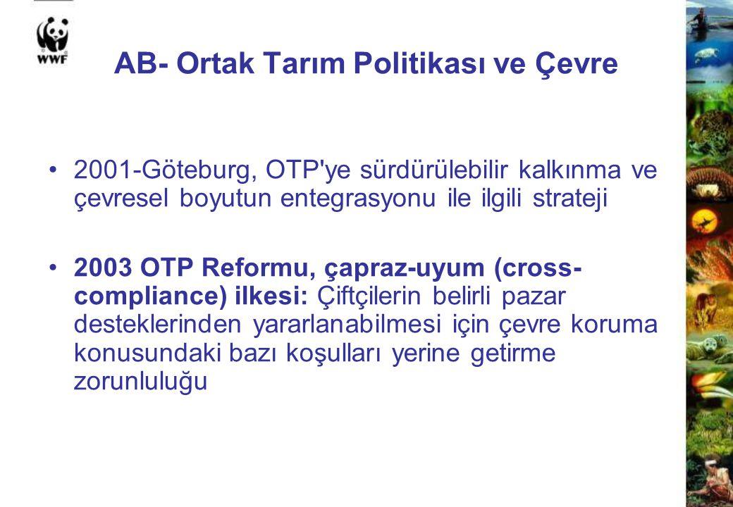 AB- Ortak Tarım Politikası ve Çevre 2001-Göteburg, OTP'ye sürdürülebilir kalkınma ve çevresel boyutun entegrasyonu ile ilgili strateji 2003 OTP Reform