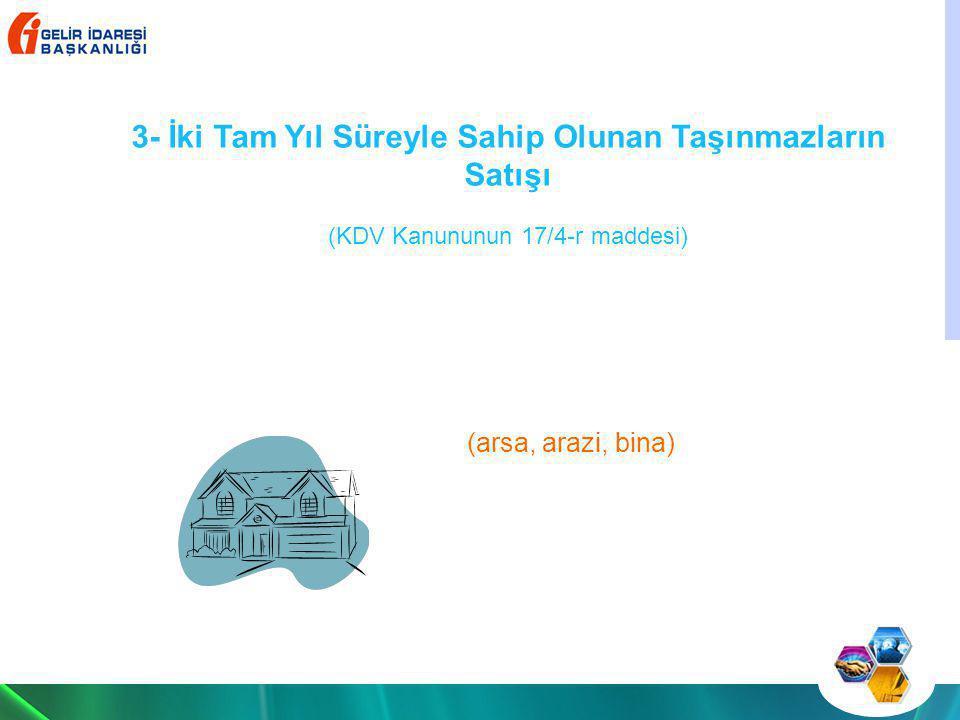 Katma Değer Vergisi (KDV) Kanununun; - (1/1) inci maddesinde Türkiye'de yapılan ticari, sınai, zirai faaliyet ve serbest meslek faaliyeti çerçevesindeki teslim ve hizmetlerin KDV ye tabi olduğu, -(1/3-g) maddesinde ise, genel ve katma bütçeli idarelere, il özel idarelerine, belediyeler ve köyler ile bunların teşkil ettikleri birliklere, üniversitelere, demek ve vakıflara, her türlü mesleki kuruluşlara ait veya tabi olan veyahut bunlar tarafından kurulan veya işletilen müesseseler ile döner sermayeli kuruluşların veya bunlara ait veya tabi diğer müesseselerin ticari, sınai, zirai ve mesleki nitelikteki teslim ve hizmetlerinin KDV ye tabi olduğu, - (17/4-r) maddesinde, kurumların aktifinde veya belediyeler ile il özel idarelerinin mülkiyetinde, en az iki tam yıl süreyle bulunan taşınmazların satışı suretiyle gerçekleşen devir ve teslimlerin KDV den müstesna olduğu, istisna kapsamındaki kıymetlerin ticaretini yapan kurumların, bu amaçla aktiflerinde bulundurdukları taşınmaz ve iştirak hisselerinin teslimlerinin istisna kapsamı dışında olduğu, hüküm altına alınmıştır.