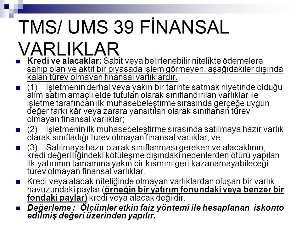 TMS/ UMS 39 FİNANSAL VARLIKLAR Kredi ve alacaklar: Sabit veya belirlenebilir nitelikte ödemelere sahip olan ve aktif bir piyasada işlem görmeyen, aşağ