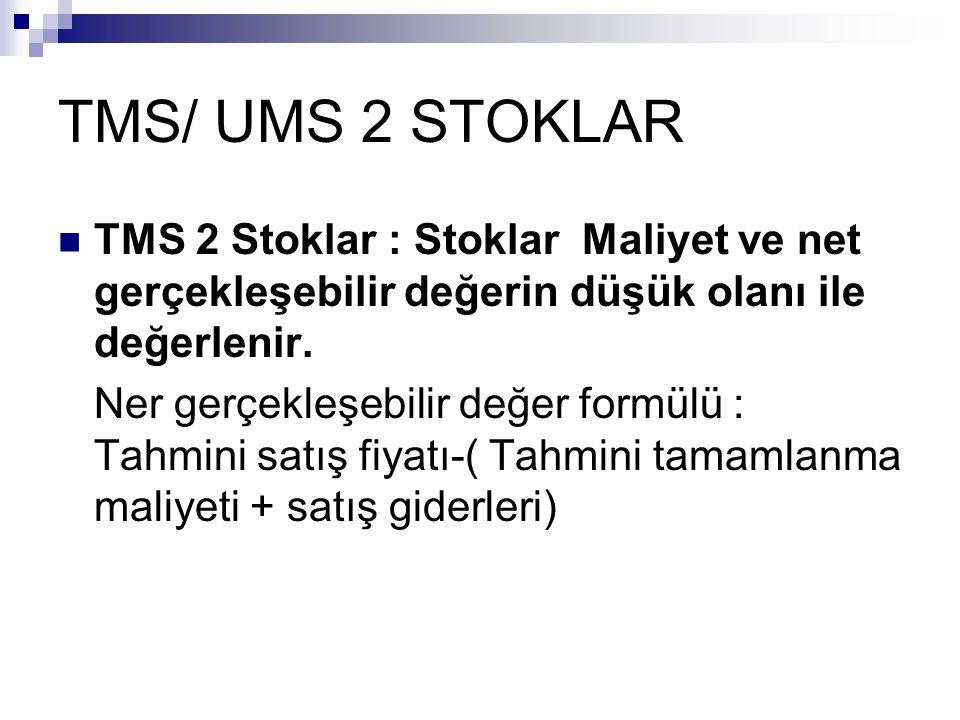 TMS/ UMS 2 STOKLAR TMS 2 Stoklar : Stoklar Maliyet ve net gerçekleşebilir değerin düşük olanı ile değerlenir. Ner gerçekleşebilir değer formülü : Tahm