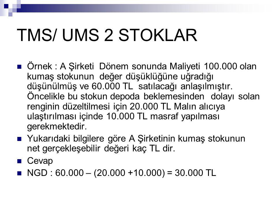 TMS/ UMS 2 STOKLAR Örnek : A Şirketi Dönem sonunda Maliyeti 100.000 olan kumaş stokunun değer düşüklüğüne uğradığı düşünülmüş ve 60.000 TL satılacağı