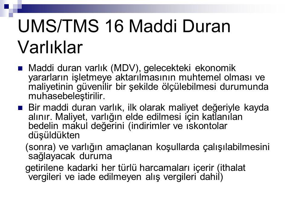UMS/TMS 16 Maddi Duran Varlıklar Maddi duran varlık (MDV), gelecekteki ekonomik yararların işletmeye aktarılmasının muhtemel olması ve maliyetinin güv
