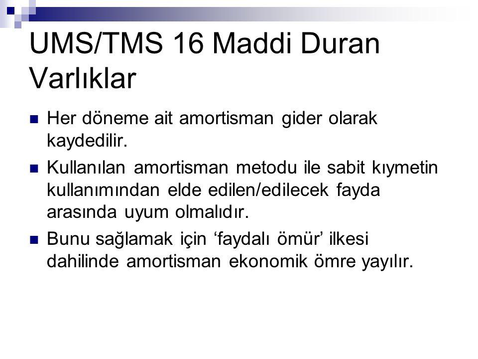 UMS/TMS 16 Maddi Duran Varlıklar Her döneme ait amortisman gider olarak kaydedilir. Kullanılan amortisman metodu ile sabit kıymetin kullanımından elde