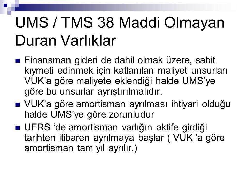 UMS / TMS 38 Maddi Olmayan Duran Varlıklar Finansman gideri de dahil olmak üzere, sabit kıymeti edinmek için katlanılan maliyet unsurları VUK'a göre m