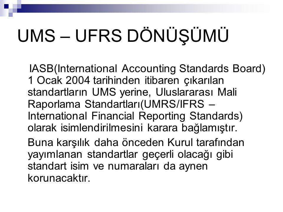 UFRS GİRİŞ SPK IFRS İle uyumlu olarak ( Sermaye Piyasasında Muhasebe Standartları Hakkında Tebliğ – Seri: XI No 25) yayınlanmıştır.