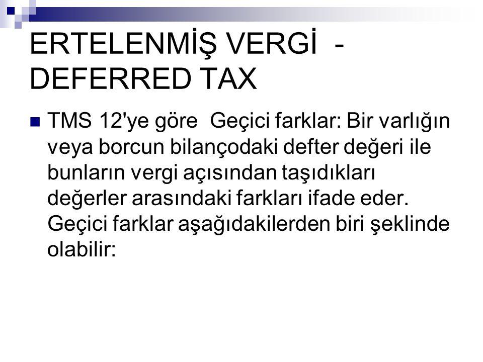 ERTELENMİŞ VERGİ - DEFERRED TAX TMS 12'ye göre Geçici farklar: Bir varlığın veya borcun bilançodaki defter değeri ile bunların vergi açısından taşıdık