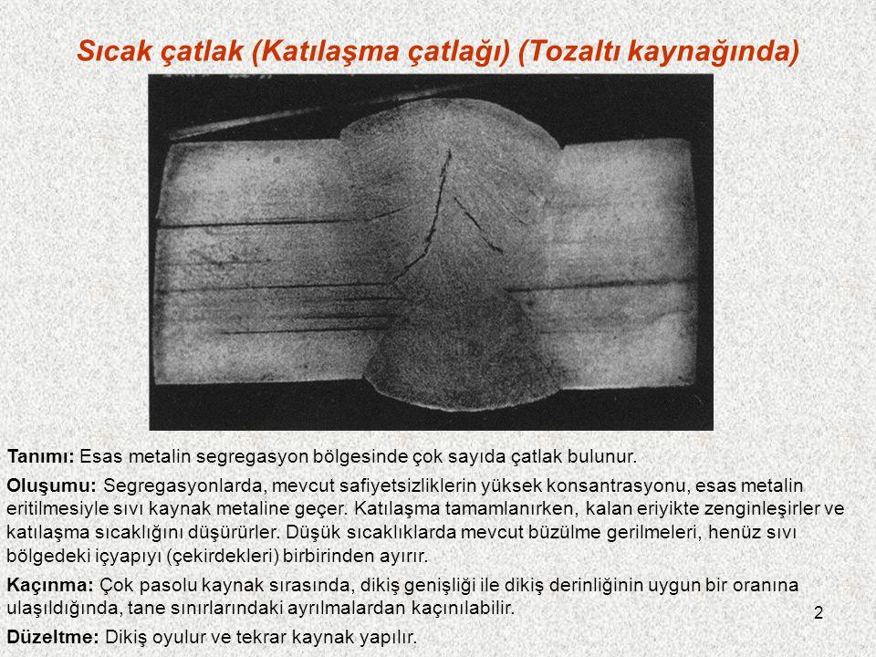 13 Çatlama nedeni olarak levhalardaki safiyetsizlikler Tanımı: Röntgen filminde çok zor belirlenebilen çatlak, esas metalden kaynak metaline geçer.