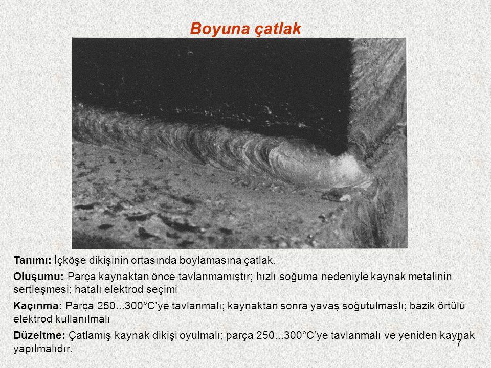 8 Punta yerinin çatlaması Tanımı: Punta yerleri, önceden kaynak yapılmış dikişin büzülme etkisi nedeniyle çatlamışır.