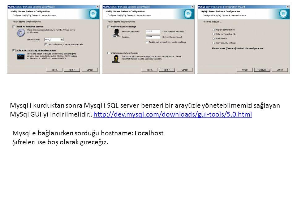 Mysql i kurduktan sonra Mysql i SQL server benzeri bir arayüzle yönetebilmemizi sağlayan MySql GUI yi indirilmelidir..