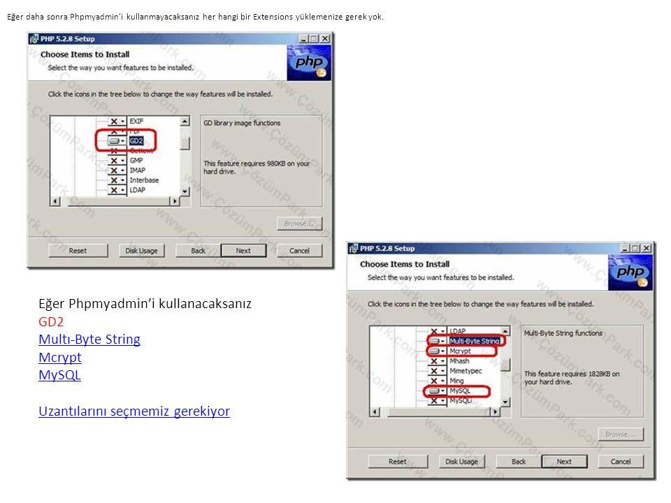 Eğer daha sonra Phpmyadmin'i kullanmayacaksanız her hangi bir Extensions yüklemenize gerek yok.
