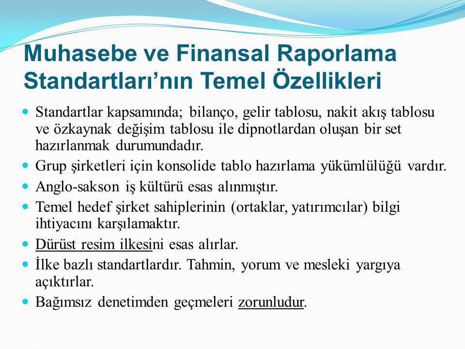Muhasebe ve Finansal Raporlama Standartları'nın Temel Özellikleri Standartlar kapsamında; bilanço, gelir tablosu, nakit akış tablosu ve özkaynak değiş