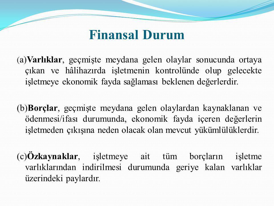 Finansal Durum ( a)Varlıklar, geçmişte meydana gelen olaylar sonucunda ortaya çıkan ve hâlihazırda işletmenin kontrolünde olup gelecekte işletmeye eko