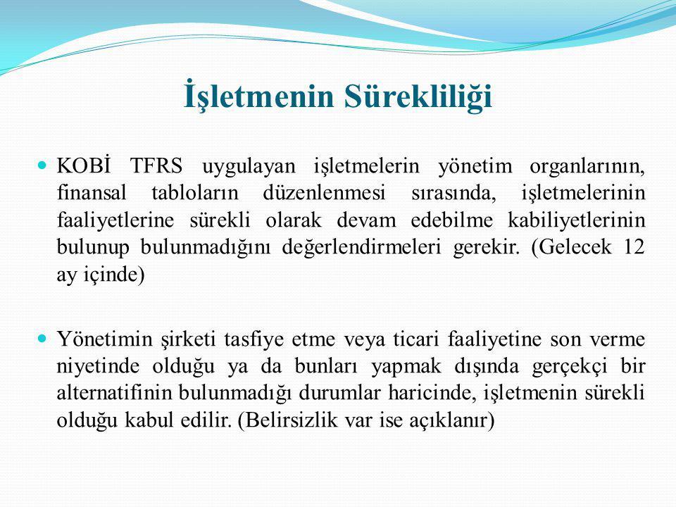 İşletmenin Sürekliliği KOBİ TFRS uygulayan işletmelerin yönetim organlarının, finansal tabloların düzenlenmesi sırasında, işletmelerinin faaliyetlerin