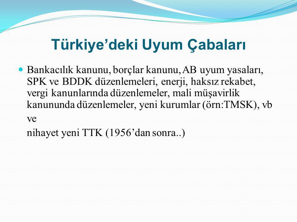 Türkiye'deki Uyum Çabaları Bankacılık kanunu, borçlar kanunu, AB uyum yasaları, SPK ve BDDK düzenlemeleri, enerji, haksız rekabet, vergi kanunlarında