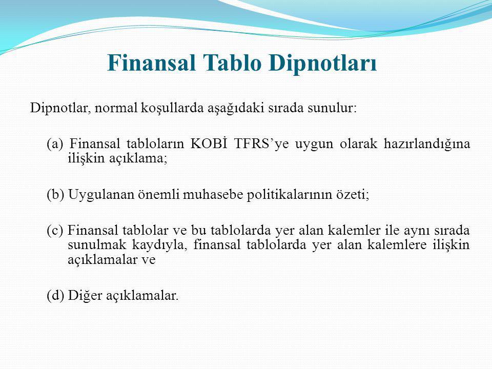 Dipnotlar, normal koşullarda aşağıdaki sırada sunulur: (a) Finansal tabloların KOBİ TFRS'ye uygun olarak hazırlandığına ilişkin açıklama; (b) Uygulana
