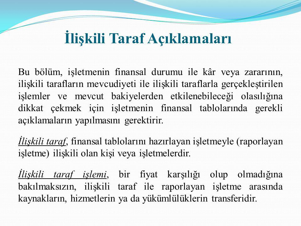 İlişkili Taraf Açıklamaları Bu bölüm, işletmenin finansal durumu ile kâr veya zararının, ilişkili tarafların mevcudiyeti ile ilişkili taraflarla gerçe