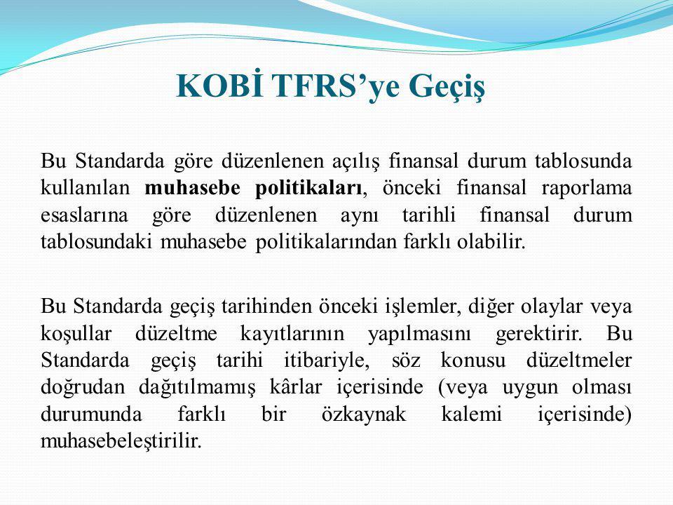 KOBİ TFRS'ye Geçiş Bu Standarda göre düzenlenen açılış finansal durum tablosunda kullanılan muhasebe politikaları, önceki finansal raporlama esasların