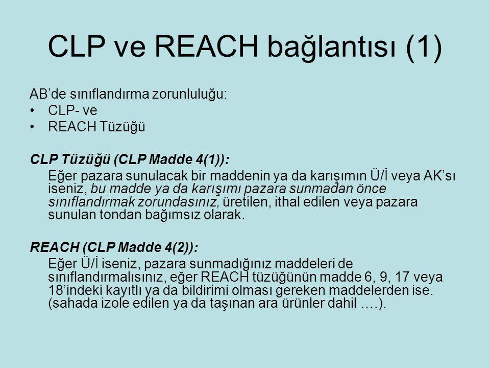 CLP ve REACH bağlantısı (1) AB'de sınıflandırma zorunluluğu: CLP- ve REACH Tüzüğü CLP Tüzüğü (CLP Madde 4(1)): Eğer pazara sunulacak bir maddenin ya da karışımın Ü/İ veya AK'sı iseniz, bu madde ya da karışımı pazara sunmadan önce sınıflandırmak zorundasınız, üretilen, ithal edilen veya pazara sunulan tondan bağımsız olarak.