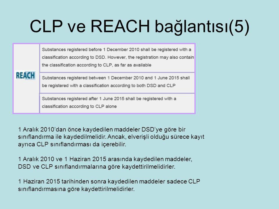 CLP ve REACH bağlantısı(5) 1 Aralık 2010'dan önce kaydedilen maddeler DSD'ye göre bir sınıflandırma ile kaydedilmelidir.