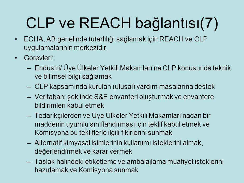 CLP ve REACH bağlantısı(7) ECHA, AB genelinde tutarlılığı sağlamak için REACH ve CLP uygulamalarının merkezidir.