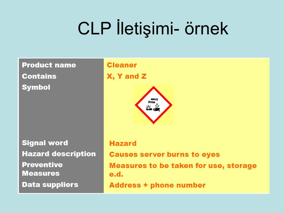 CLP İletişimi- örnek Product name Contains Symbol Signal word Hazard description Preventive Measures Data suppliers Cleaner X, Y and Z Hazard Causes server burns to eyes Measures to be taken for use, storage e.d.