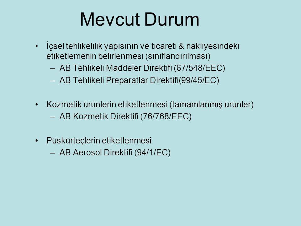 Mevcut Durum İçsel tehlikelilik yapısının ve ticareti & nakliyesindeki etiketlemenin belirlenmesi (sınıflandırılması) –AB Tehlikeli Maddeler Direktifi (67/548/EEC) –AB Tehlikeli Preparatlar Direktifi(99/45/EC) Kozmetik ürünlerin etiketlenmesi (tamamlanmış ürünler) –AB Kozmetik Direktifi (76/768/EEC) Püskürteçlerin etiketlenmesi –AB Aerosol Direktifi (94/1/EC)
