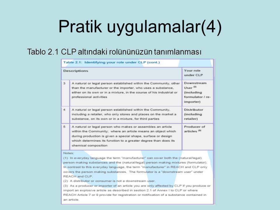 Pratik uygulamalar(4) Tablo 2.1 CLP altındaki rolününüzün tanımlanması
