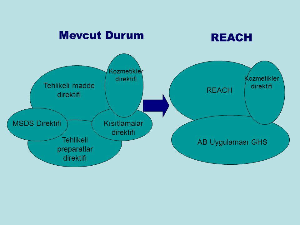 Mevcut Durum REACH Tehlikeli preparatlar direktifi Tehlikeli madde direktifi Kısıtlamalar direktifi MSDS Direktifi Kozmetikler direktifi AB Uygulaması GHS REACH Kozmetikler direktifi