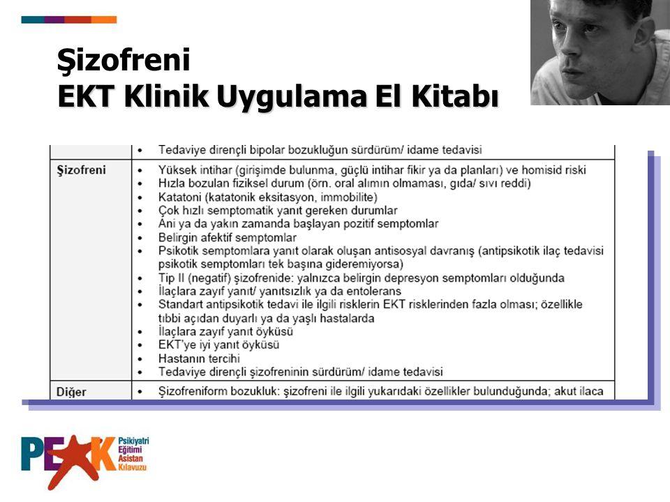EKT Klinik Uygulama El Kitabı Şizofreni EKT Klinik Uygulama El Kitabı